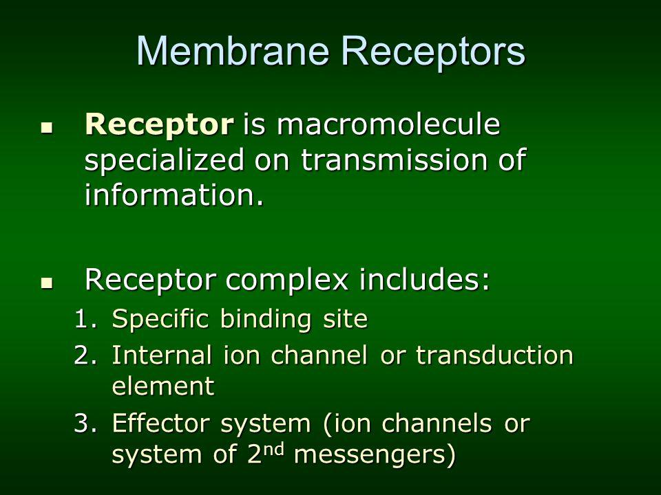 Membrane Receptors Receptor is macromolecule specialized on transmission of information. Receptor complex includes: