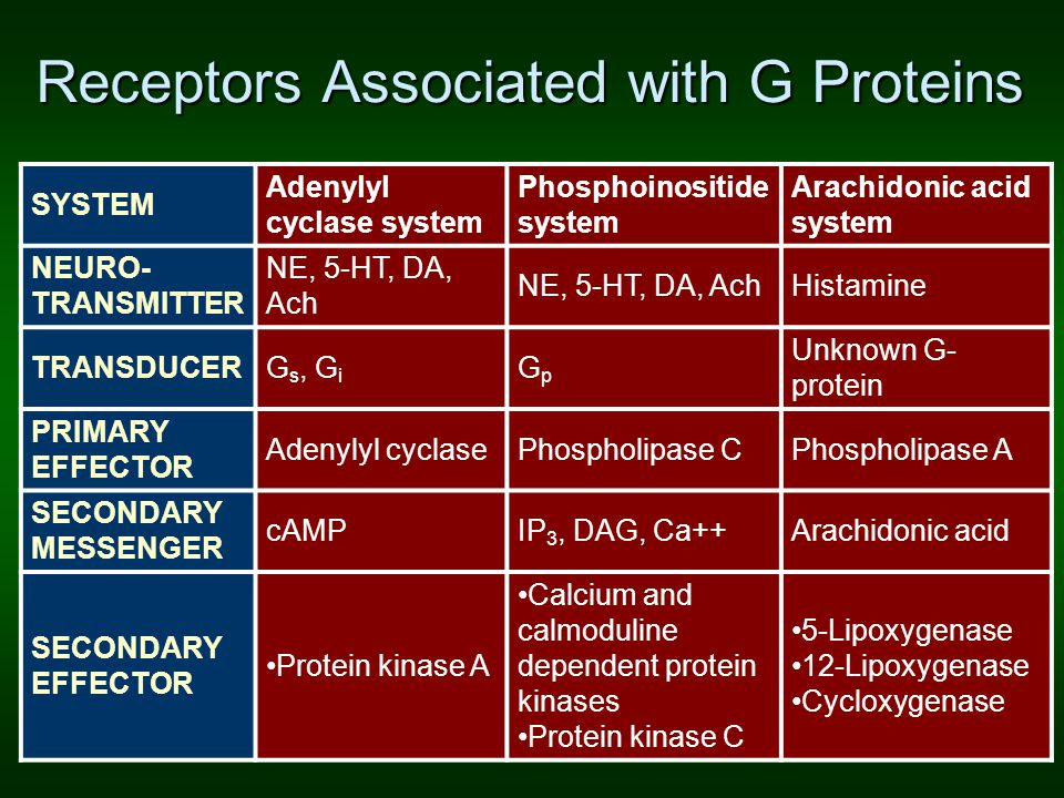 Receptors Associated with G Proteins