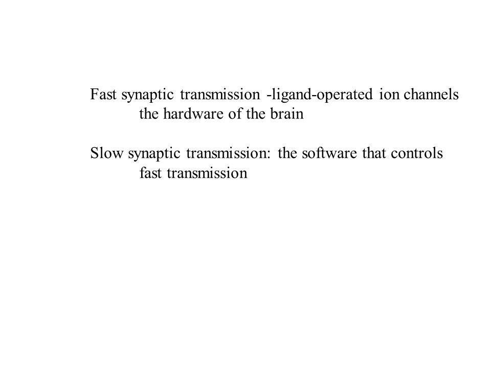Fast synaptic transmission -ligand-operated ion channels