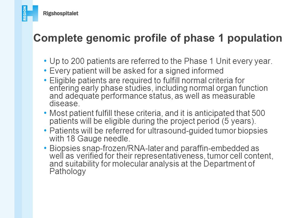 Complete genomic profile of phase 1 population
