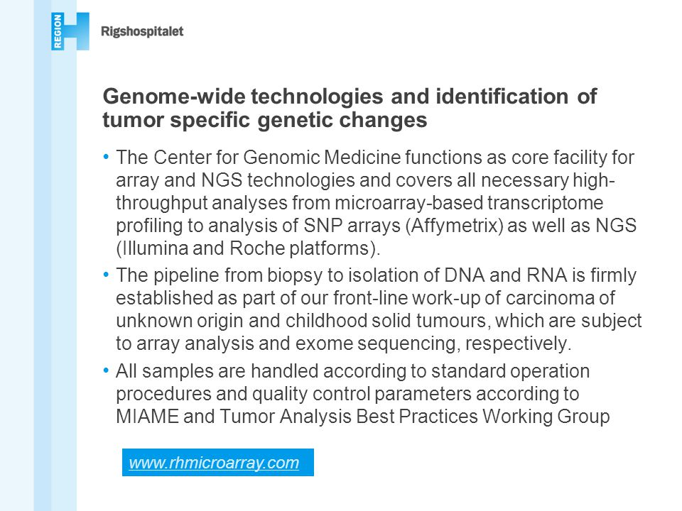 Genome-wide technologies and identification of tumor specific genetic changes