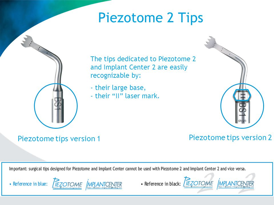 Piezotome 2 Tips Piezotome tips version 2 Piezotome tips version 1