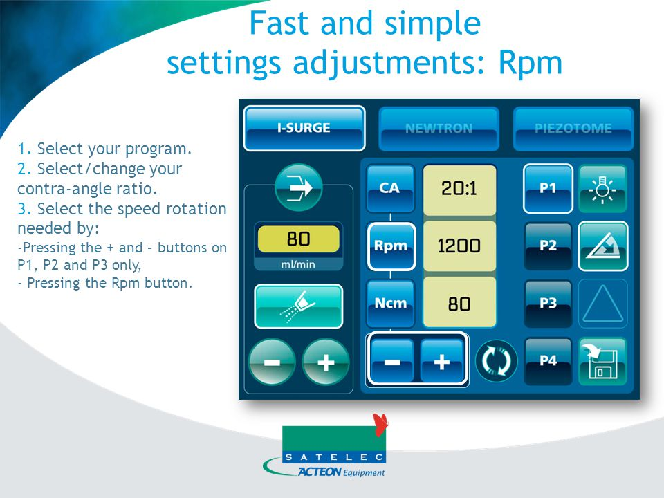 settings adjustments: Rpm