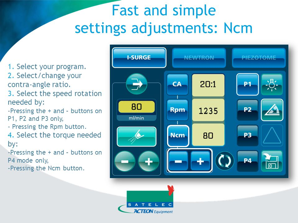 settings adjustments: Ncm