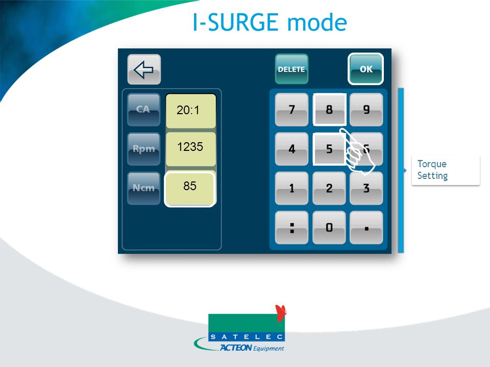 I-SURGE mode 20:1 1235 Torque Setting 85