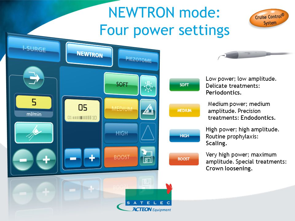 NEWTRON mode: Four power settings