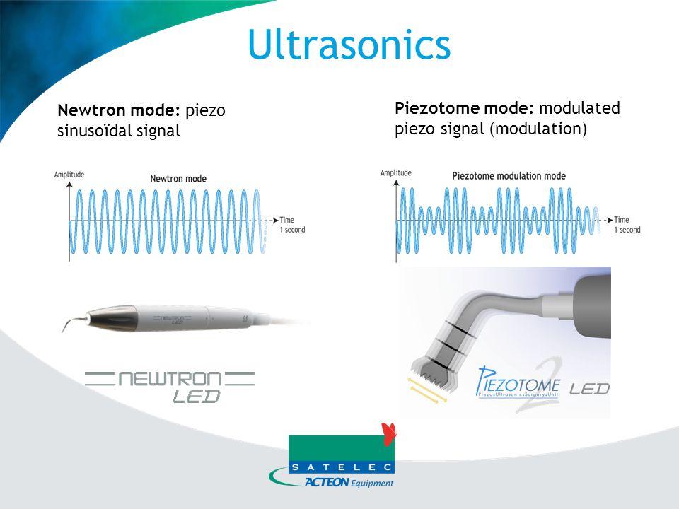 Ultrasonics Newtron mode: piezo sinusoïdal signal