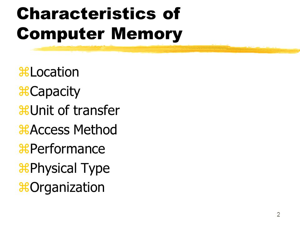 Characteristics of Computer Memory