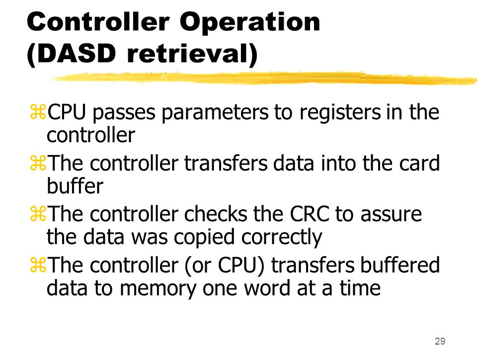 Controller Operation (DASD retrieval)