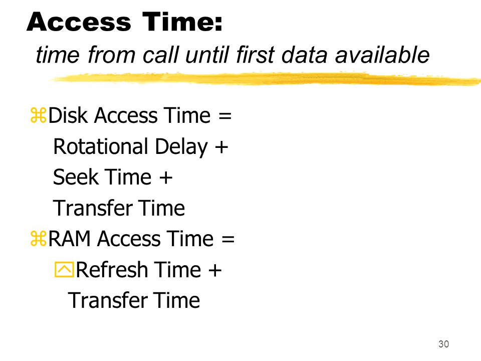 Access Time: time from call until first data available