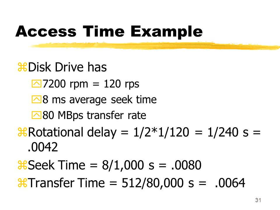 Access Time Example Disk Drive has
