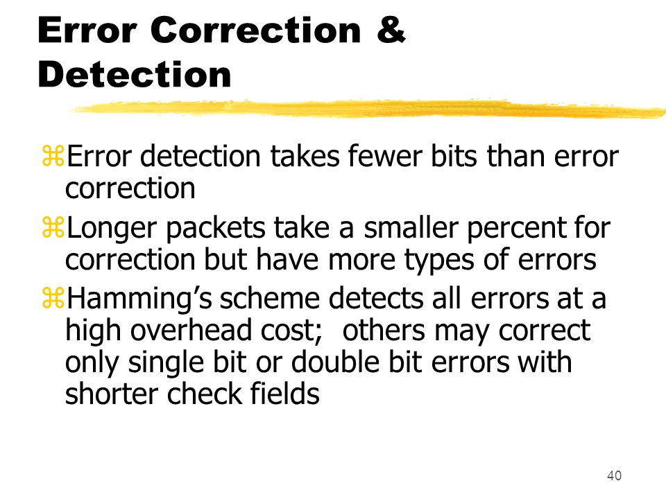 Error Correction & Detection
