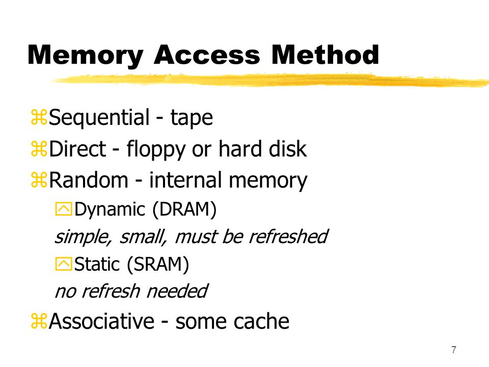 Memory Access Method Sequential - tape Direct - floppy or hard disk