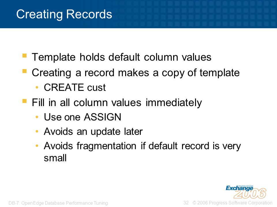 Creating Records Template holds default column values