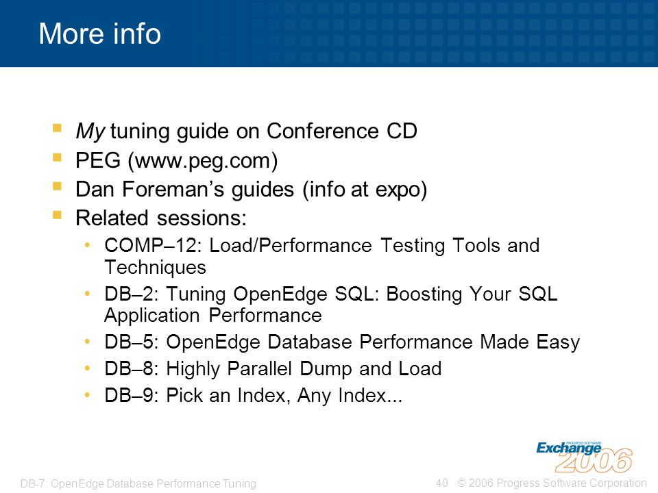 More info My tuning guide on Conference CD PEG (www.peg.com)