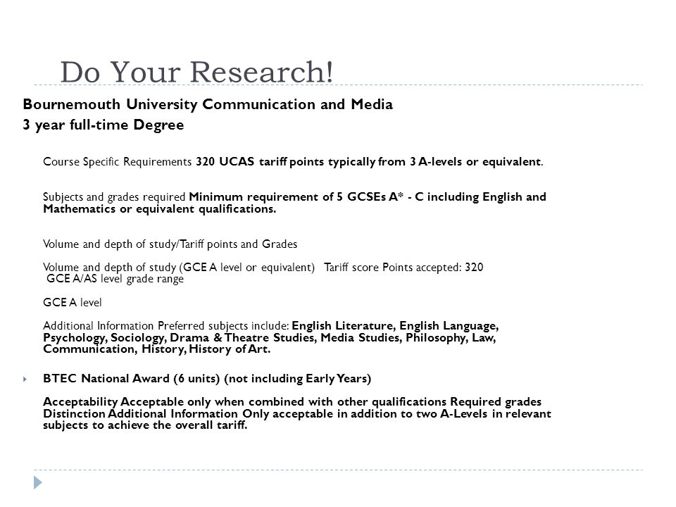 Do Your Research! Bournemouth University Communication and Media