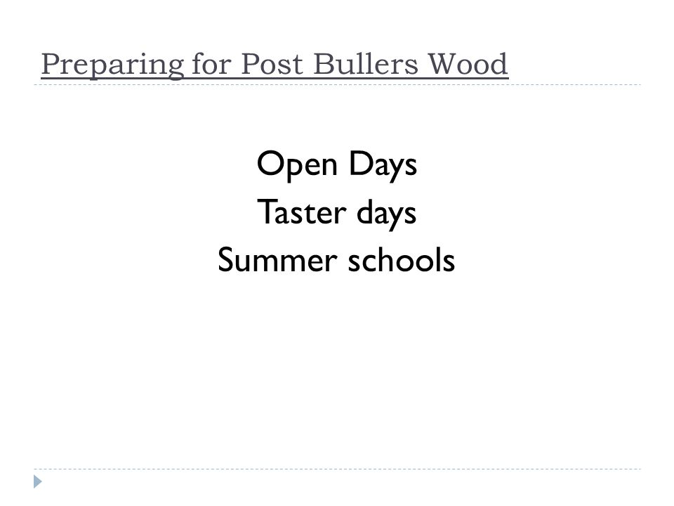 Preparing for Post Bullers Wood