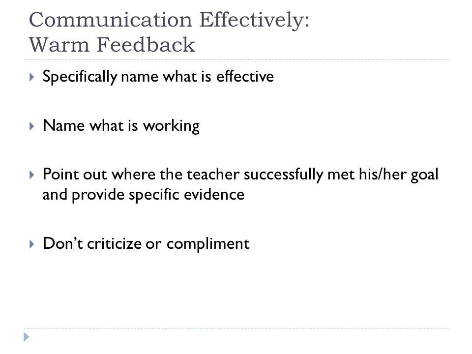Communication Effectively: Warm Feedback