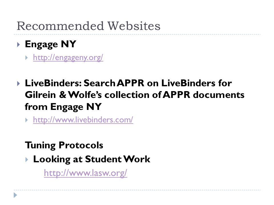 Recommended Websites Engage NY