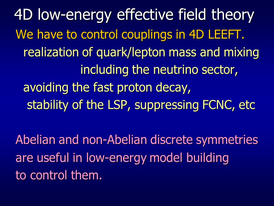 4D low-energy effective field theory