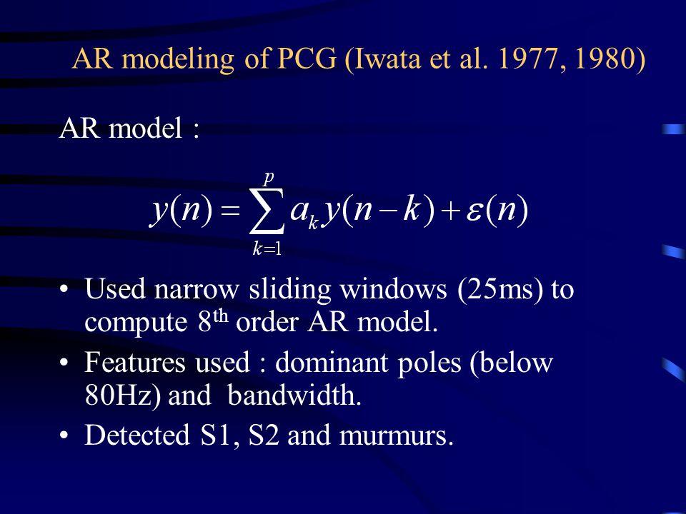 AR modeling of PCG (Iwata et al. 1977, 1980)