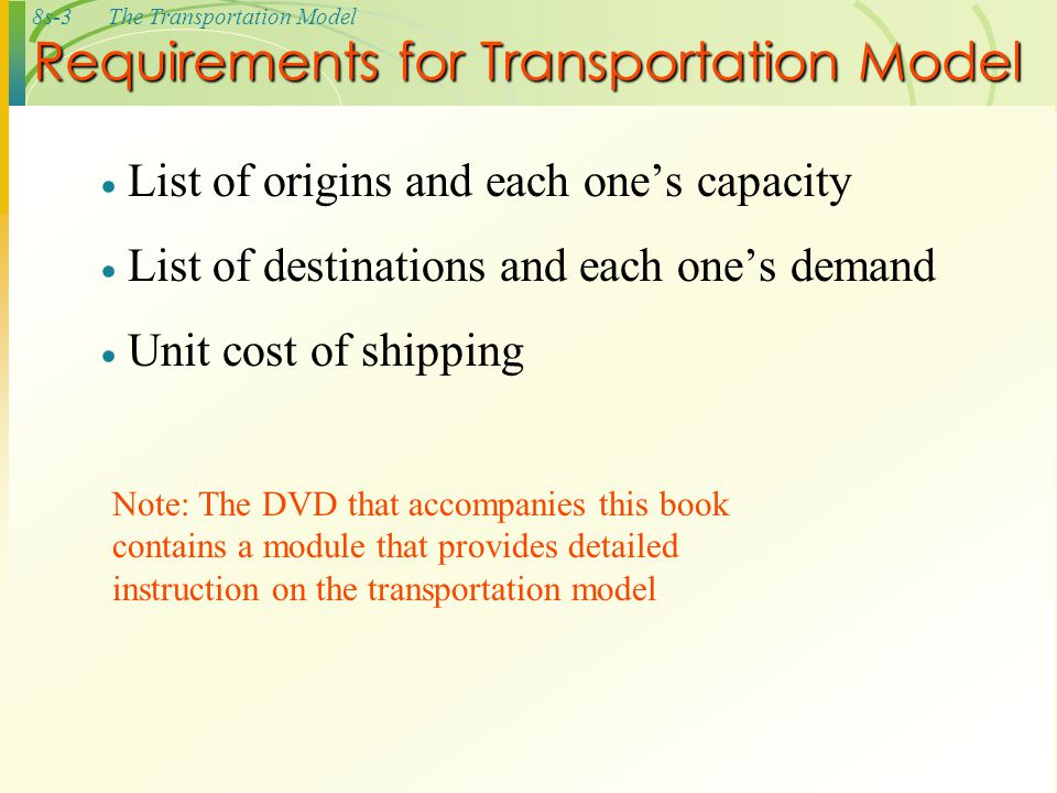 Requirements for Transportation Model