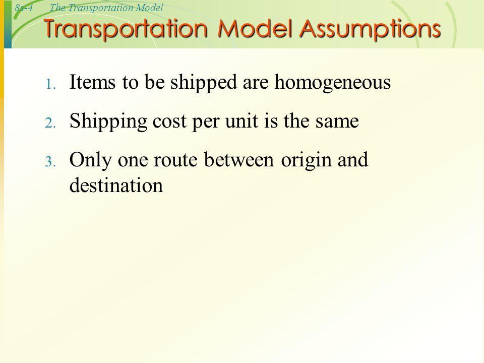 Transportation Model Assumptions