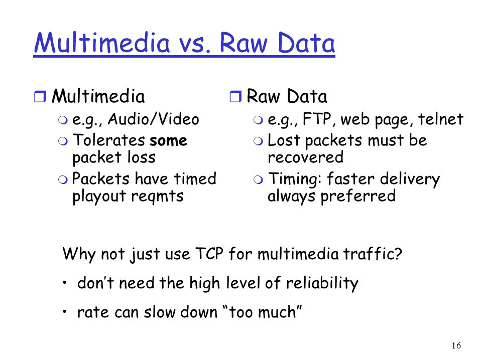 Multimedia vs. Raw Data Multimedia Raw Data e.g., Audio/Video