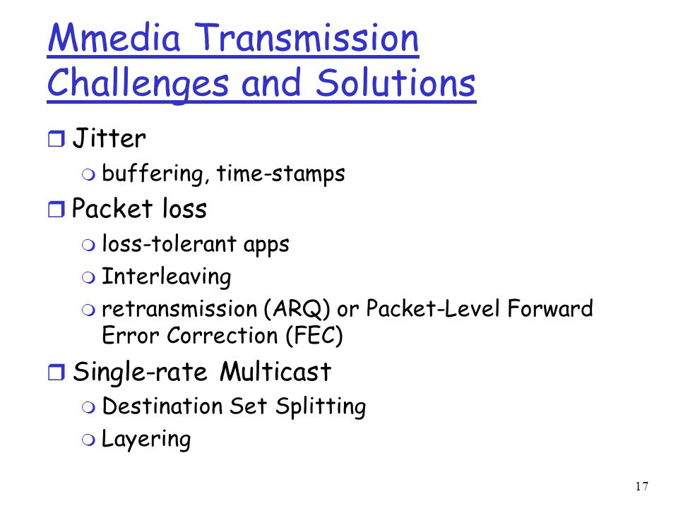 Mmedia Transmission Challenges and Solutions