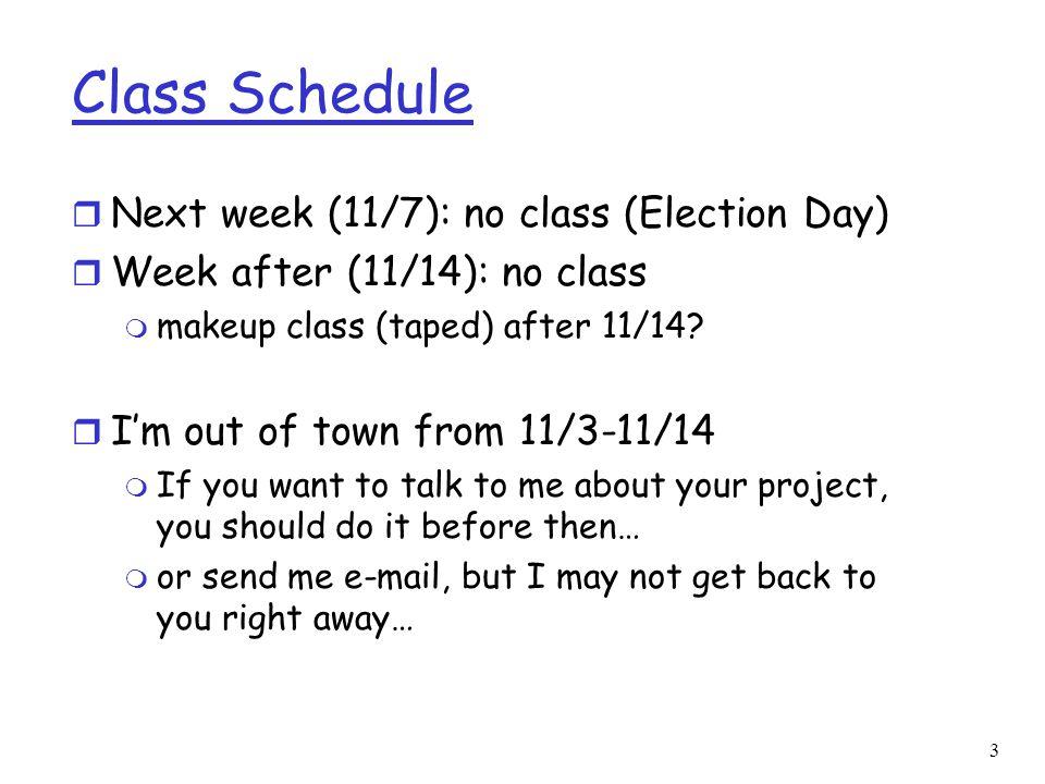 Class Schedule Next week (11/7): no class (Election Day)