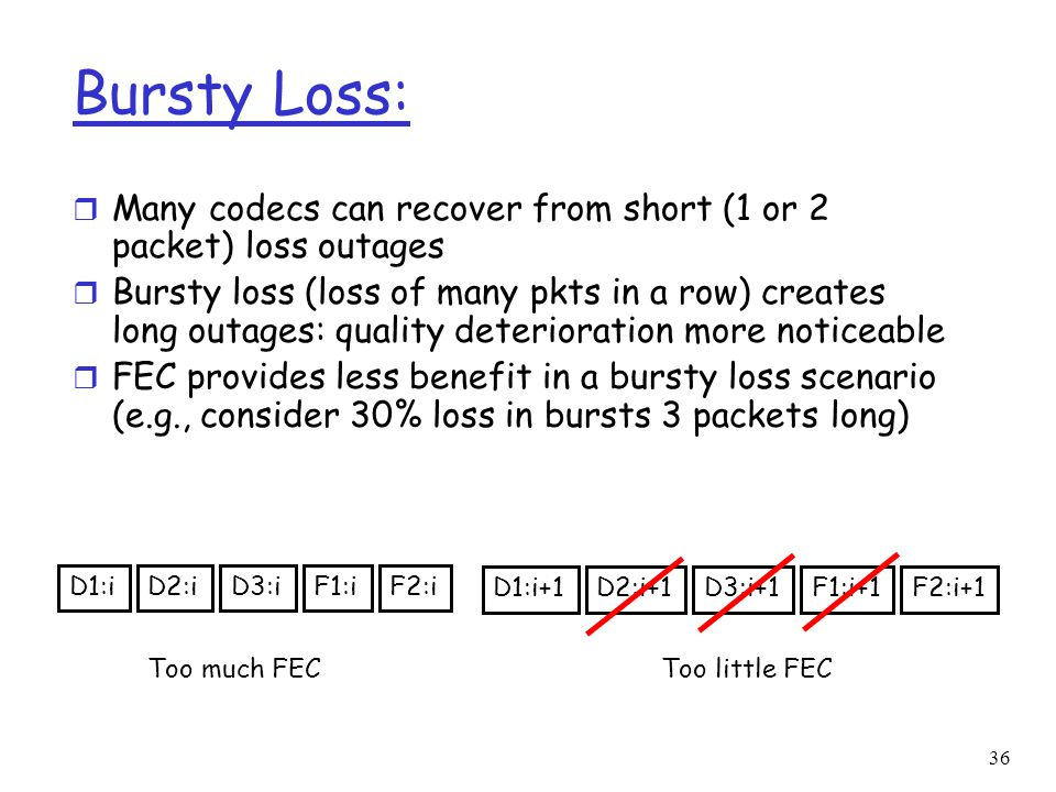 Bursty Loss: Many codecs can recover from short (1 or 2 packet) loss outages.