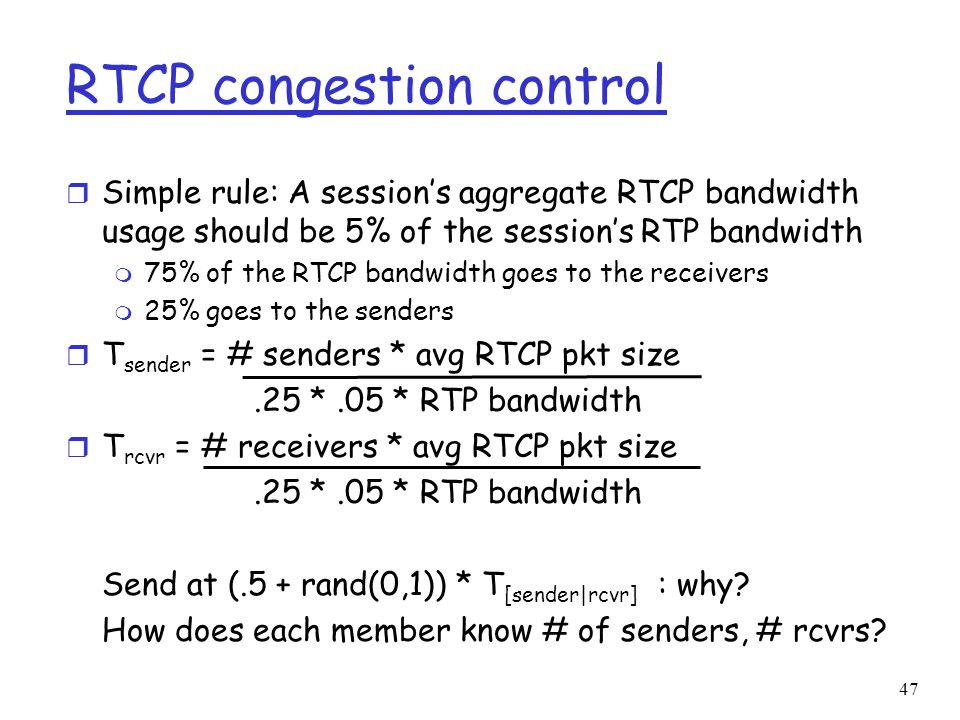 RTCP congestion control
