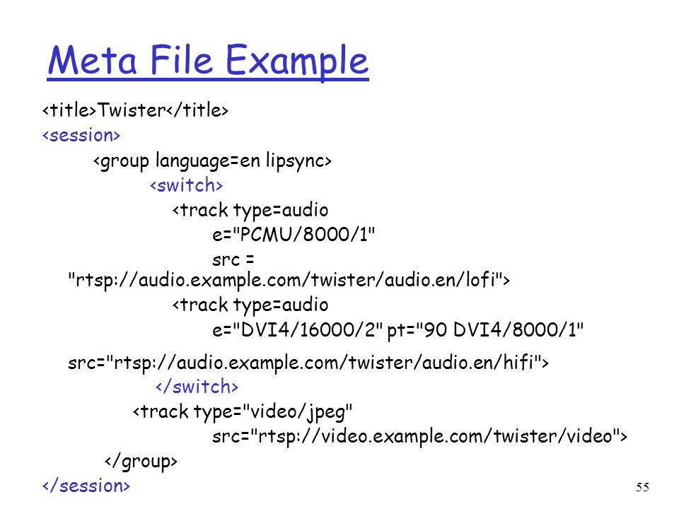 Meta File Example <title>Twister</title> <session>