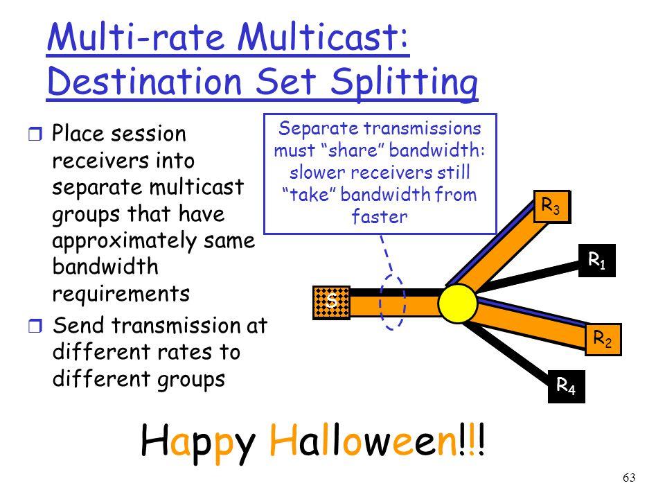 Multi-rate Multicast: Destination Set Splitting