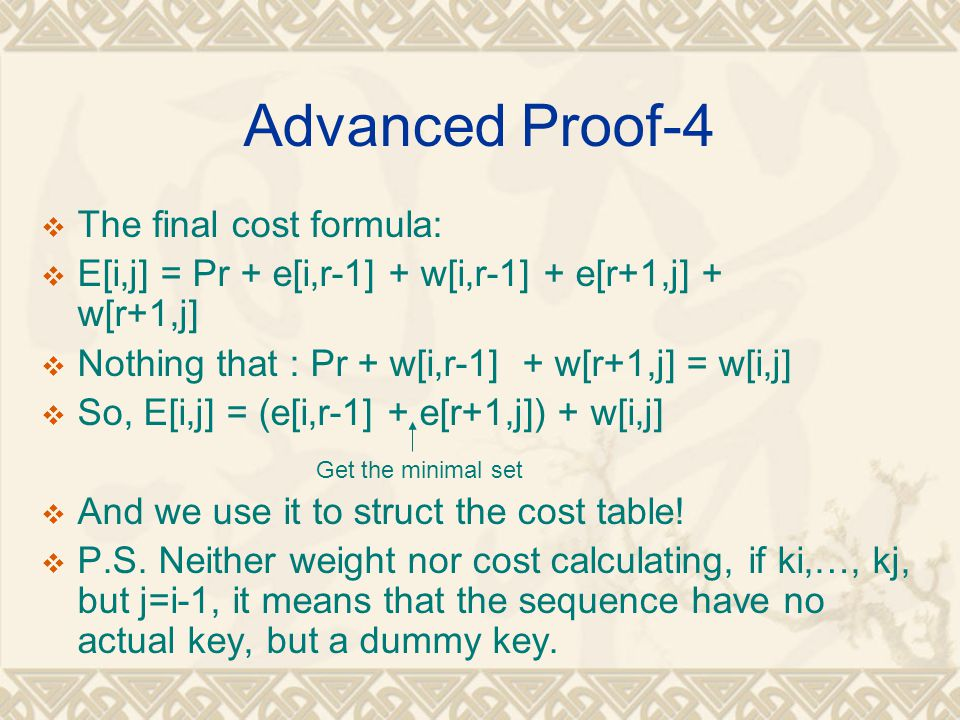 Advanced Proof-4 The final cost formula: