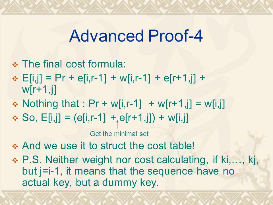 Advanced Proof-4 The final cost formula: