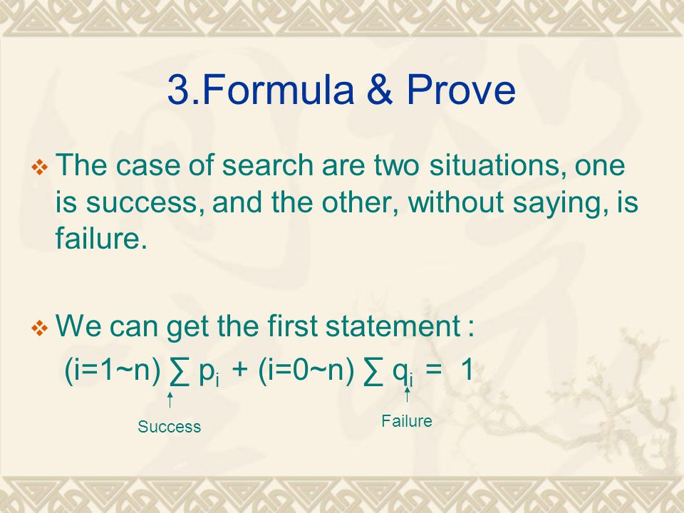 3.Formula & Prove The case of search are two situations, one is success, and the other, without saying, is failure.