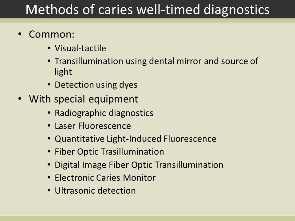 Methods of caries well-timed diagnostics