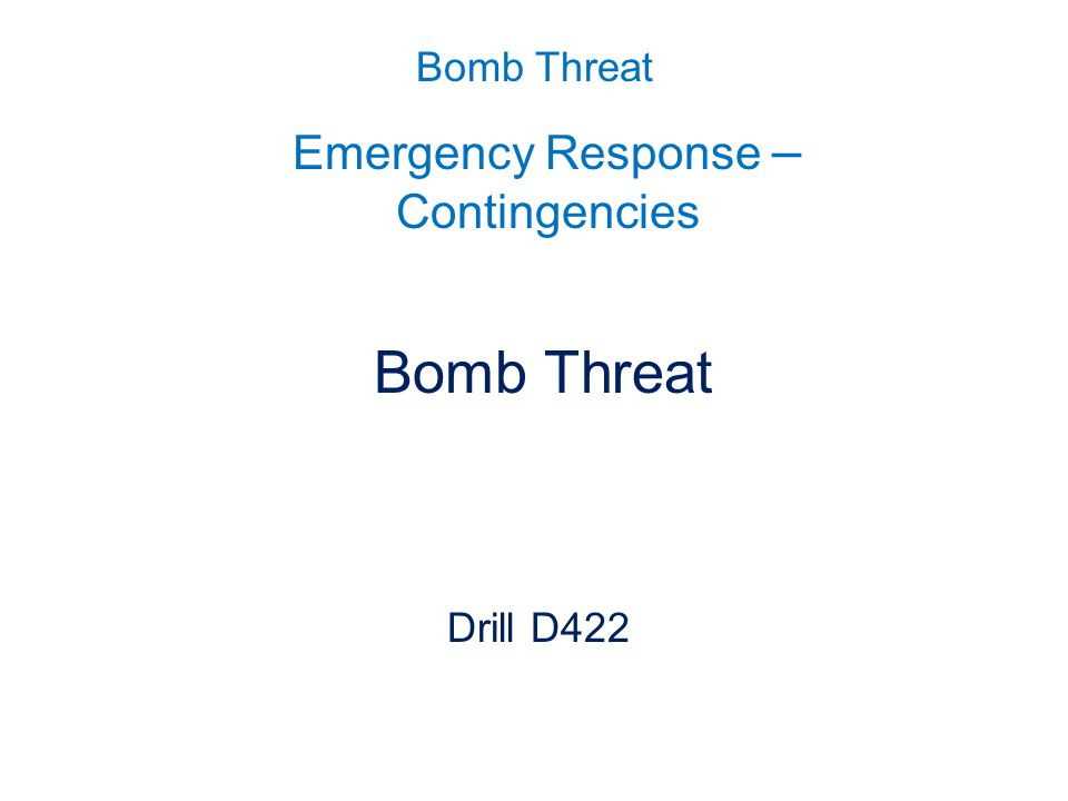 Emergency Response – Contingencies