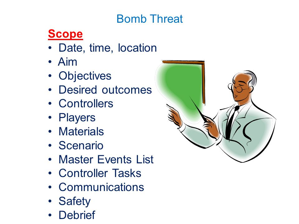 Scope Date, time, location. Aim. Objectives. Desired outcomes. Controllers. Players. Materials.