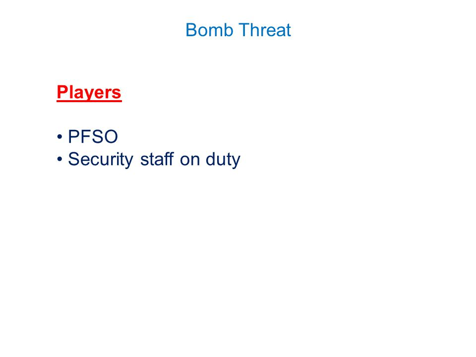 Players PFSO Security staff on duty
