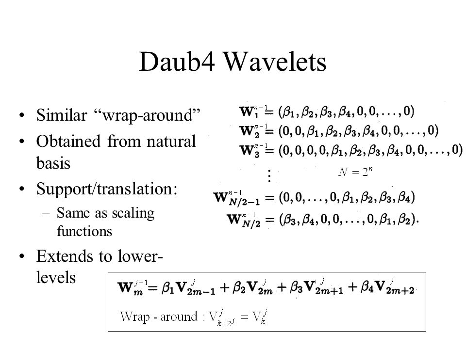 Daub4 Wavelets Similar wrap-around Obtained from natural basis