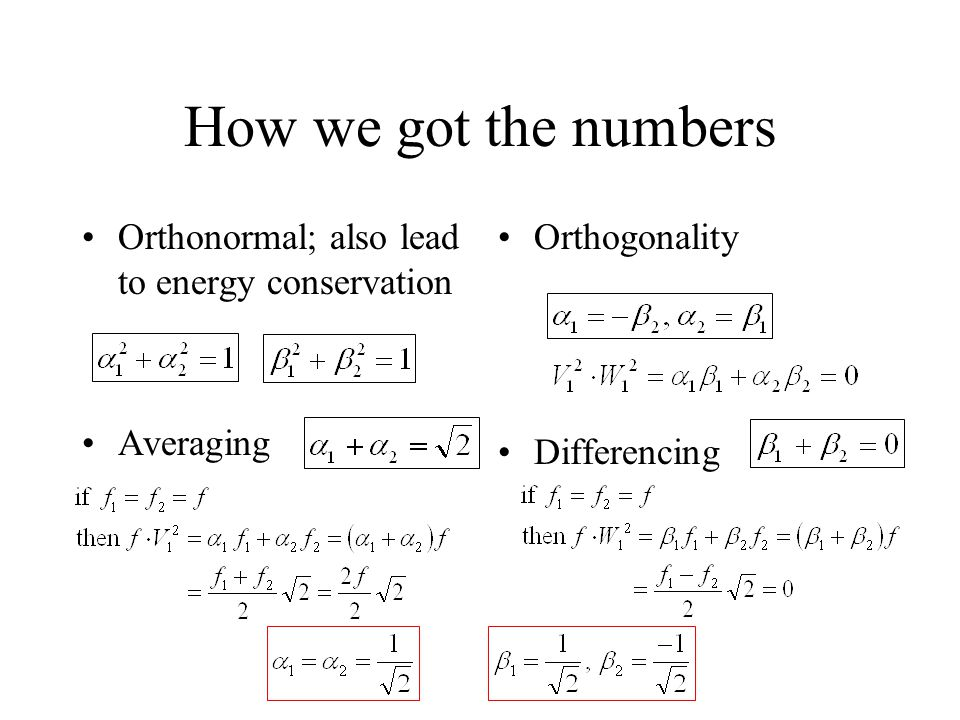 How we got the numbers Orthonormal; also lead to energy conservation