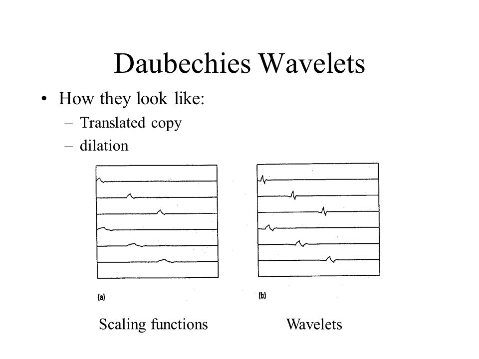 Daubechies Wavelets How they look like: Translated copy dilation