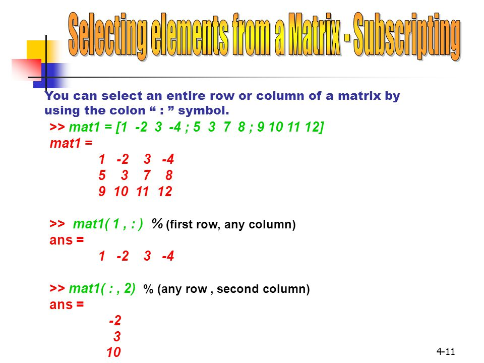 Selecting elements from a Matrix - Subscripting