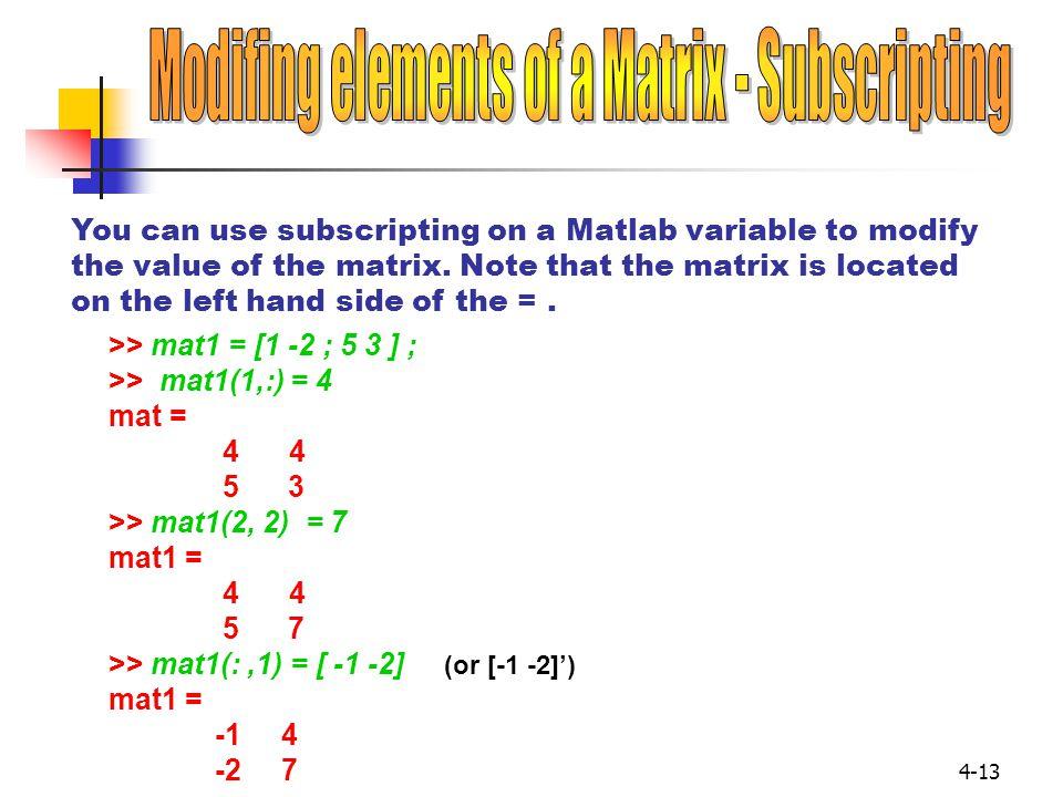 Modifing elements of a Matrix - Subscripting