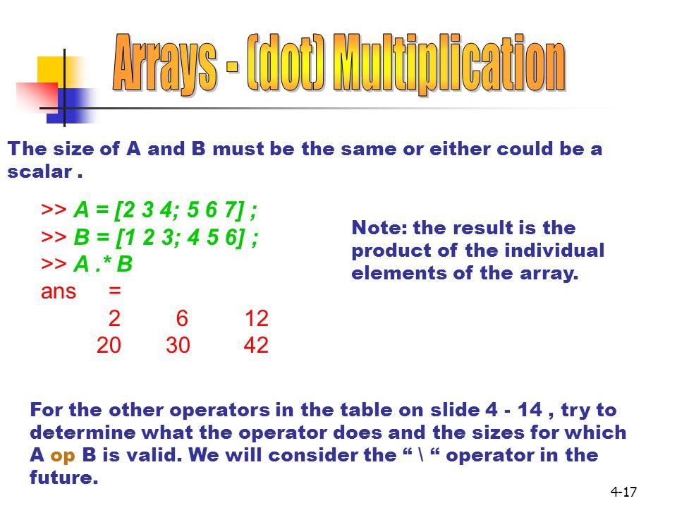 Arrays - (dot) Multiplication