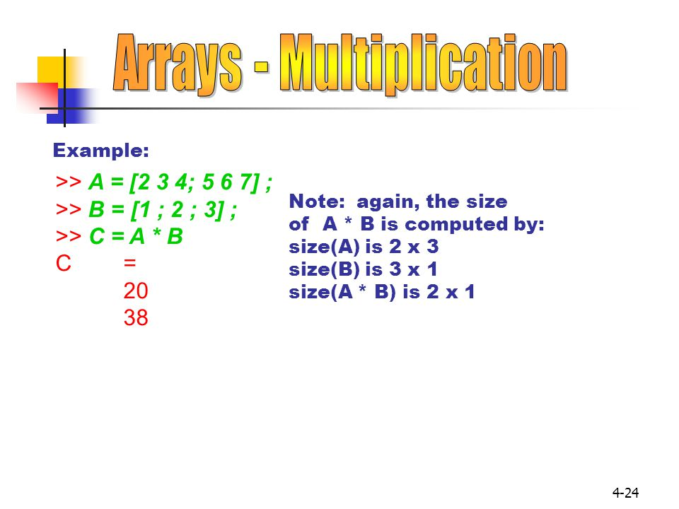 Arrays - Multiplication