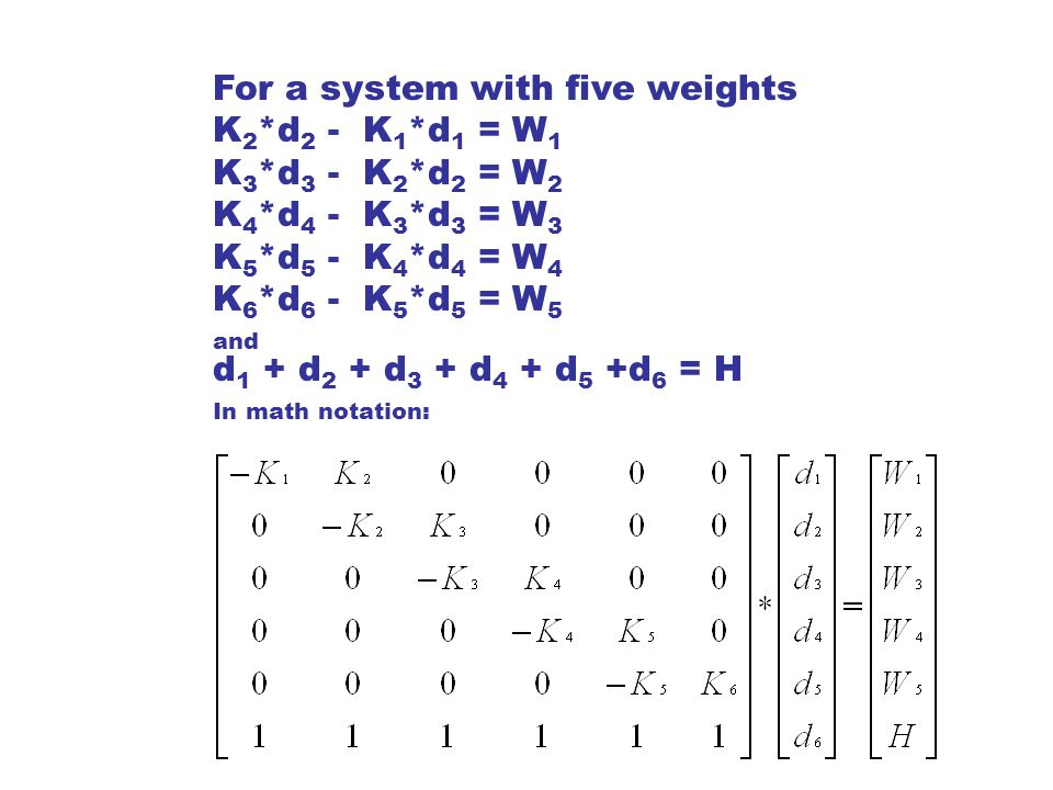 For a system with five weights
