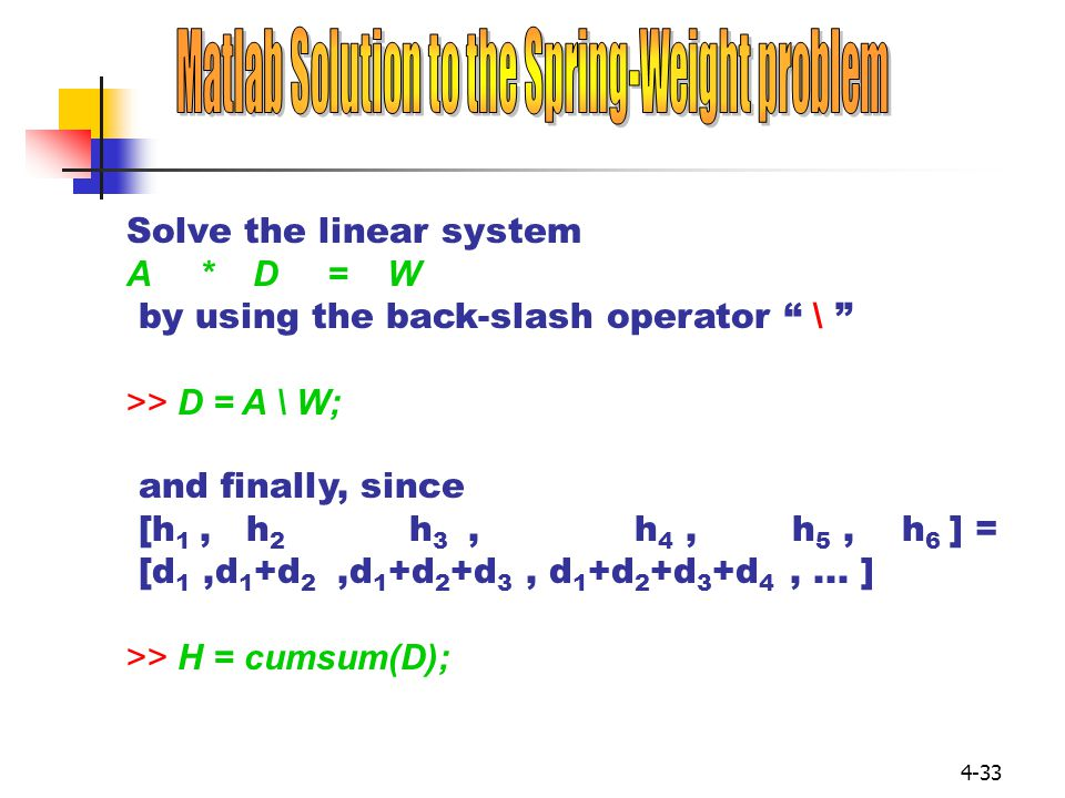 Matlab Solution to the Spring-Weight problem